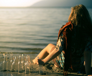 beach, girl, and bottles image
