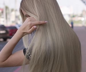 blonde, girl, and grey hair image