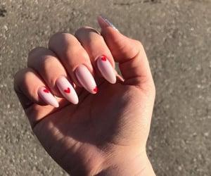 girl, hearts, and nails image