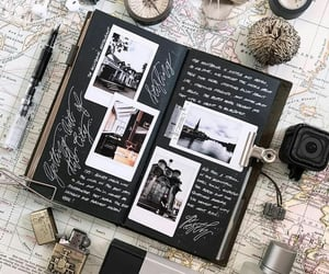 journal, black, and map image