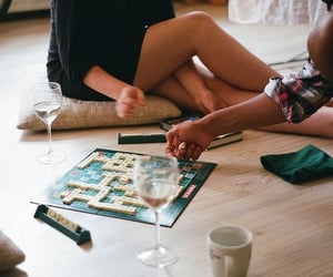 game, scrabble, and wine image