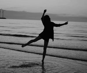 girl, black and white, and dance image