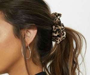 earrings, scrunchie, and hair image