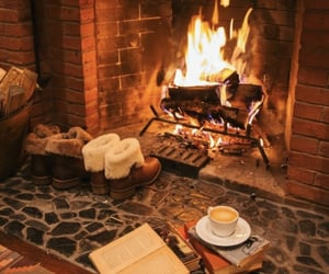 fire, autumn, and book image