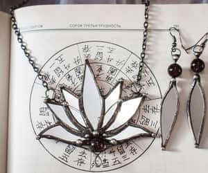 etsy, stainglass, and lotus necklace image