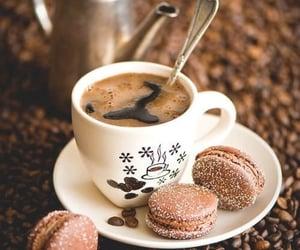 coffee, macaroons, and food image