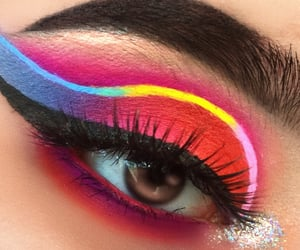 eye shadow, glitter, and lashes image