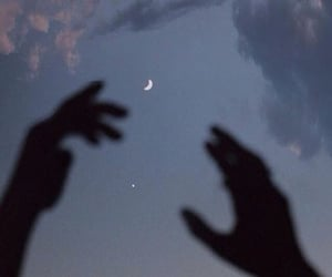 moon, hands, and sky image