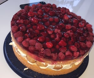 cake, cherry, and cream image