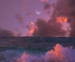 moon, ocean, and sky image