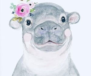 art, drawing, and hippo image