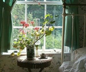 flowers, window, and bedroom image
