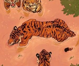 tiger, art, and orange image