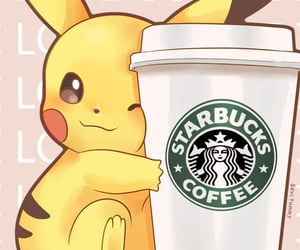 starbucks, pikachu, and pokemon image