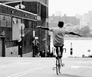 bike, black and white, and boy image