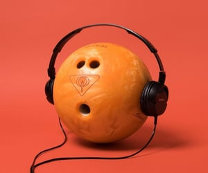 bowling, headphones, and orange image