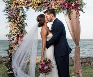 wedding, bride, and groom image