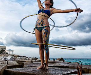 bikini, hoop, and tattoo image
