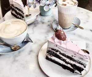 cake, coffee, and flowers image