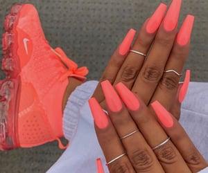 nails, coral, and nike image