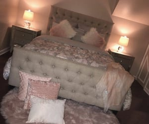bed, bedroom, and faux fur image