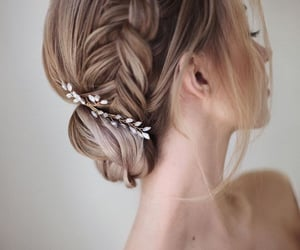 bride, wedding hairstyle, and hair image