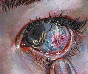 art, eye, and flowers image