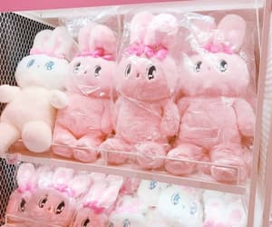 bunny, pink, and plushies image