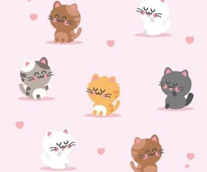 cats, pink, and wallpaper image