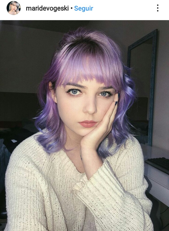 bangs, cabelo, and colored hair image