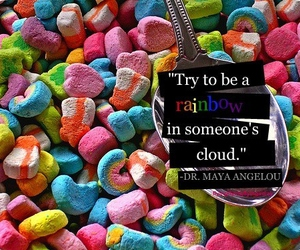 rainbow, quote, and clouds image