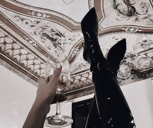 drink, boots, and fashion image