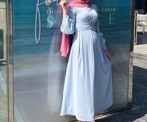 baby blue, fashion, and hijab image