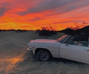 car, sunset, and white image