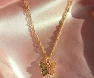 butterfly, jewelry, and gold image