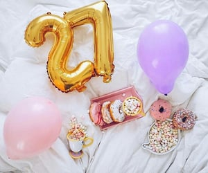 balloons, delicious, and donuts image