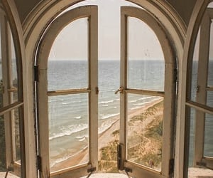 window, beach, and sea image