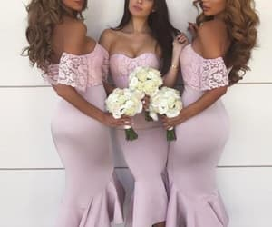 lace bridesmaid dress, wedding party dress, and mermaid bridesmaid dress image