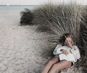 beach, girl, and book image