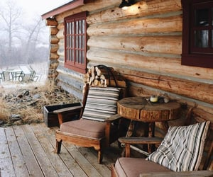 cabin, autumn, and fall image