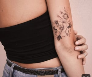 tattoo, black, and flower image