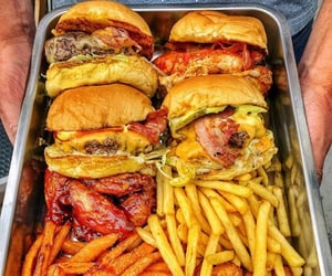 fries, burger, and fast food image