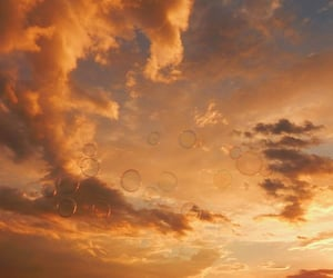 sky, sunset, and bubbles image
