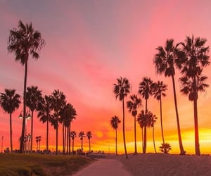 sunset, beach, and california image