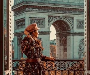 aesthetic, parisian street, and arc de triomphe image