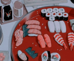 anime, sushi, and 90s image