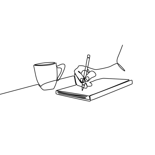 books, coffee, and cute doodle image