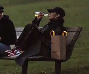 bella hadid, mood, and drink image