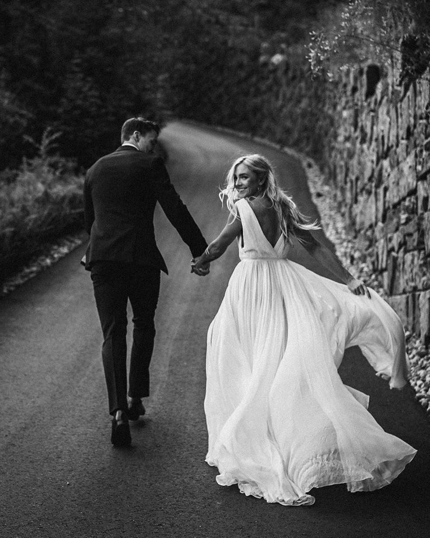 b&w, couple, and wedding image