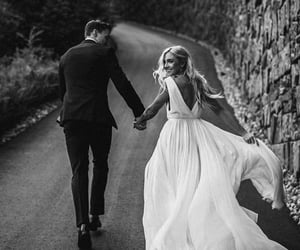 b&w, bride, and marriage image